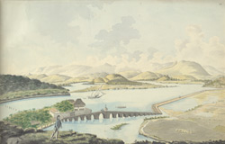 f.16   View of the Mandovi River between the towns of Ribandar and Panjim.  The causeway was built c.1636.